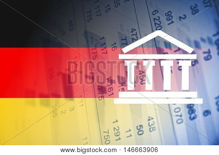 Building icon. Germany flag, with the financial data in the background.
