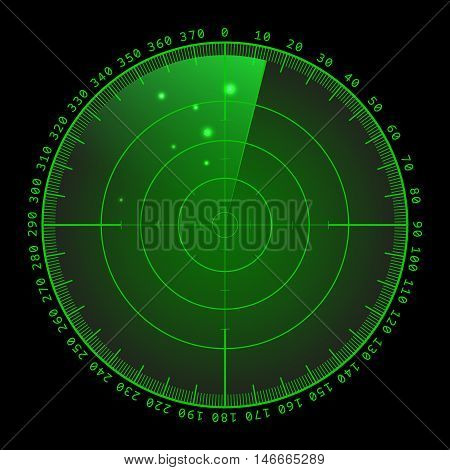 Military green radar. Screen with target. Futuristic HUD interface. Stock vector .