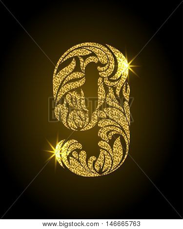 9. Decorative Font With Swirls And Floral Elements. Ornate Decorated Digit Nine With Golden Glitter