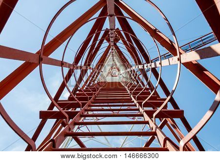 Botton view of communication tower 73 meter