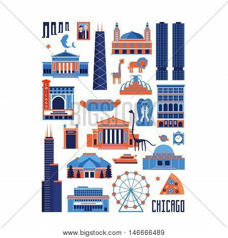 Blue and red vector set of Chicago' famous landmarks. Flat style designed historic buildings sightseeing and known museums on white background.