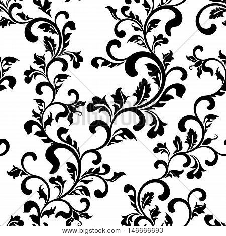 Seamless Floral Pattern On A White Background. The Pattern Can Be Used For Printing On Textiles, Wal