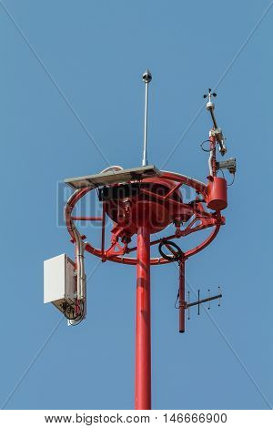 Anemometer measuring wind speed in airports in airport.