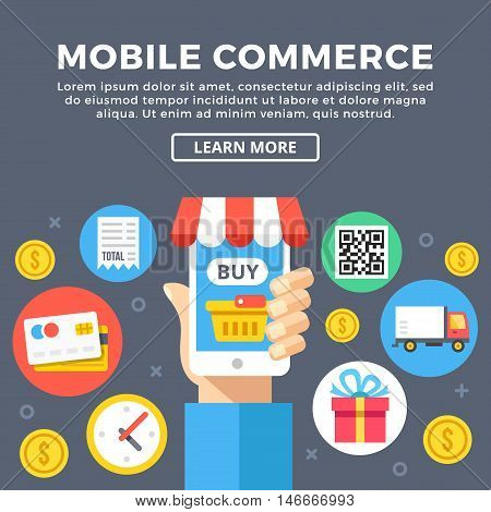 Mobile commerce, smartphone e-commerce concept. Modern graphic elements and flat icons set for web banners, web design, templates, infographics, printed materials. Flat design vector illustration