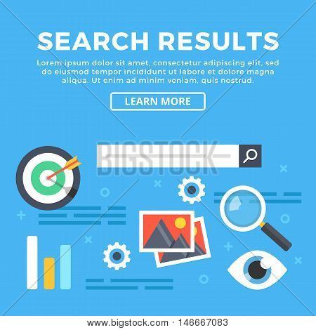 Search results, internet search engine and web pages content concepts. Modern graphic objects and icons for web banners, infographics, web design, printed materials. Flat design vector illustration