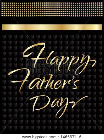 Happy Father's Day greeting card. Gold Calligraphy letters. Vector illustration