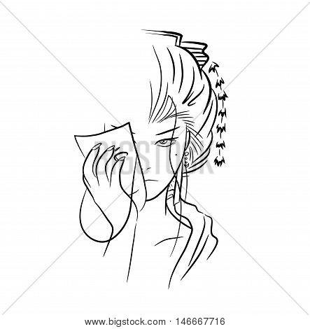 Beautiful Lady Geisha. A hand drawn vector drawing illustration of a beautiful geisha woman taking off her mask.