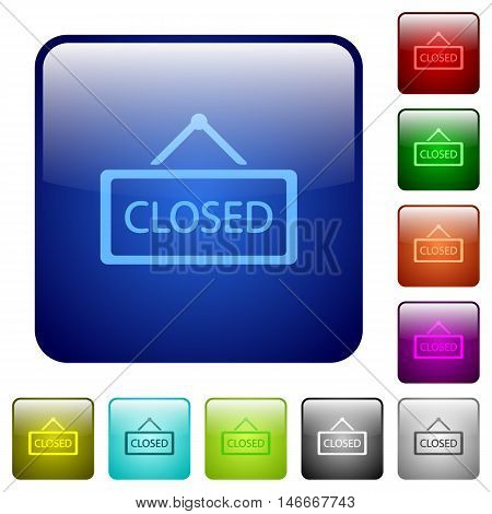 Set of closed sign color glass rounded square buttons