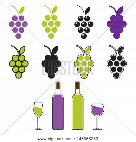 wine set symbol sign emblem. Grapevine; wine bottle wine glass. vector illustration.