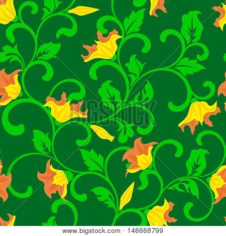 Seamless Pattern - Yellow Flowers On A Green Background