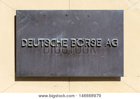 Sign Deutsche Bourse Ag - German Stock Exchange In Front Of Stock Exchange In Frankfurt, Germany