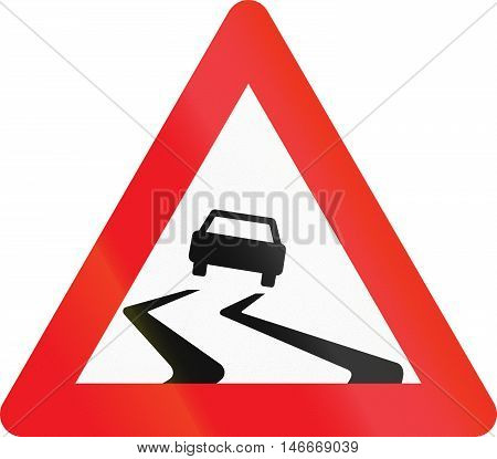 Warning Road Sign Used In Denmark - Slippery Road