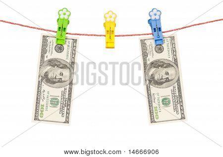 One hundred dollar on clothesline