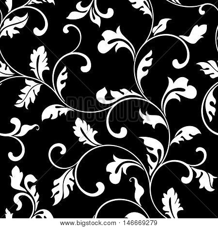 Stylish Seamless Pattern. Twisted Spiral Branches With Leaves On A Black Background. The Pattern Can