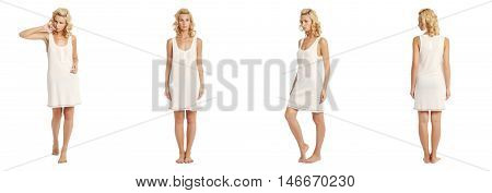 Young sexy blond woman in dress isolated on white