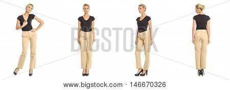 Young Sexy Blond Woman In Brown Trousers Isolated