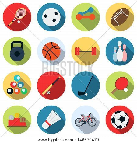 Sport and recreation colorful flat design style vector icons with long shadows