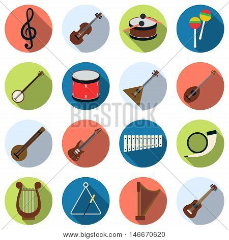 Musical instruments flat design style with long shadows vector icons