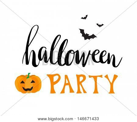Halloween party vector greeting card. Hand written text