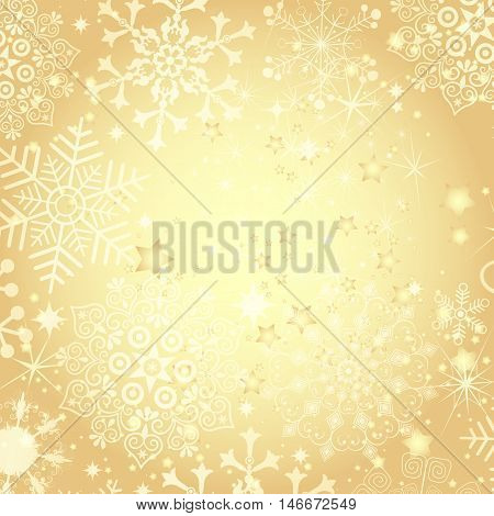 Golden Christmas frame with translucent snowflakes and stars (vector eps 10)