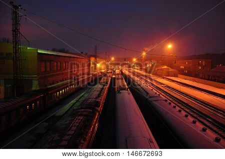 A train station railway station railroad station or depot is a railway facility where trains regularly stop to load or unload passengers or freight.