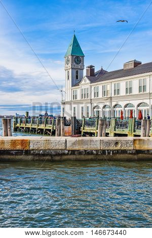New York, USA - December 28, 2015: The famous Pier A Harbor House in Battery Park.