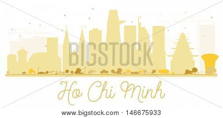 Ho Chi Minh City skyline golden silhouette. Simple flat concept for tourism presentation, banner, placard or web site. Business travel concept. Isolated Ho Chi Minh