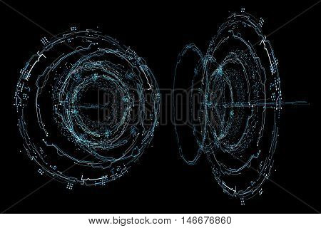 Abstract future concept futuristic blue virtual graphic touch user interface HUD. Hologram HUD Futuristic interface