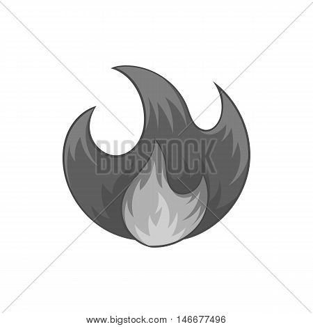 Fire icon in black monochrome style isolated on white background. Burning symbol vector illustration