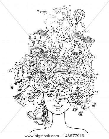 Portrait of young beautiful girl with crazy psychedelic hair and her dreams wishes hobbies - lifestyle concept. Creative adult coloring book page.