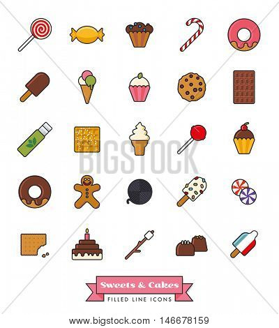 Collection of candy, sweets, cookies and cakes filled line icons