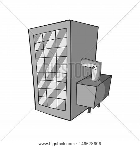 Machine spilling beer icon in black monochrome style isolated on white background. Production of beer symbol vector illustration