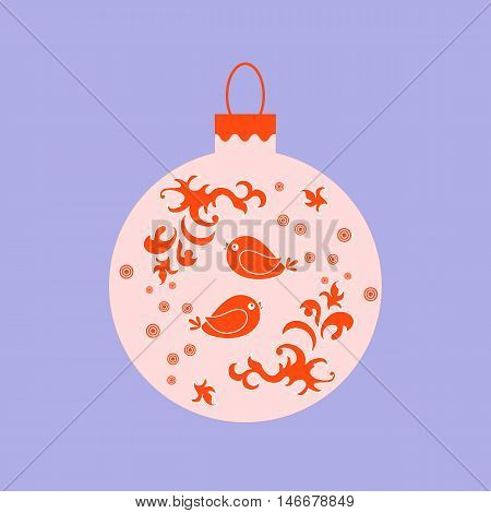 Vector Icon Christmas Ball With Birds And Frost Patterns.