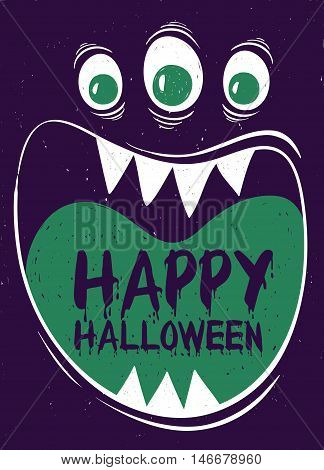 Happy Halloween greeting card. Funny cartoon muzzle of monster with wide open mouth.