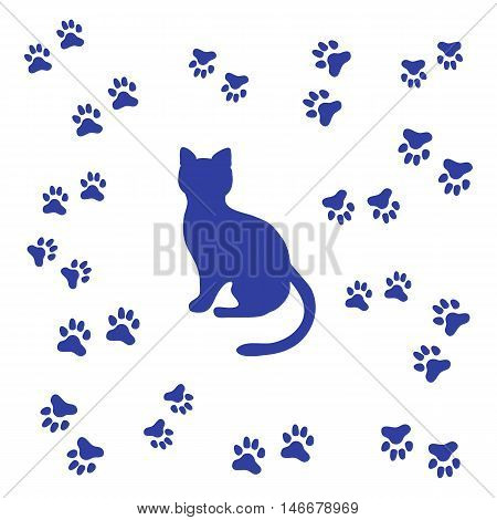 Nice Picture Of Silhouette Sitting Cat And Animal Traces