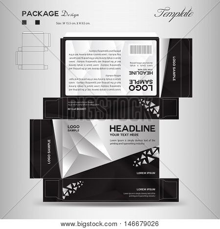 Supplements and Cosmetic box design, Package design, template, box outline,spa,cosmetics, beauty, business, package, polygon background, black package ,vector illustration