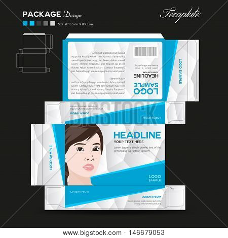 Supplements and Cosmetic box design, Package design, template, box outline,spa,cosmetics, beauty, business, package, polygon background, blue package ,vector illustration