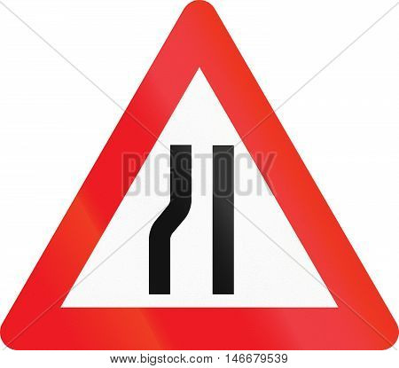 Warning Road Sign Used In Denmark - Road Narrows On Left