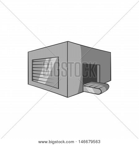Beer sorting plant icon in black monochrome style isolated on white background. Production of beer symbol vector illustration