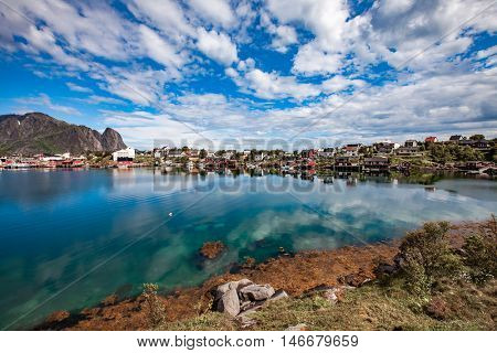 Lofoten islands is an archipelago in the county of Nordland, Norway. Is known for a distinctive scenery with dramatic mountains and peaks, open sea and sheltered bays, beaches and untouched lands.