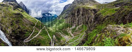 Panorama Troll's Path Trollstigen or Trollstigveien winding mountain road in Norway.