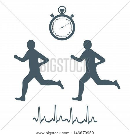 Stylized Icon Of The Two Runners With A Stopwatch And Heart Rhythm