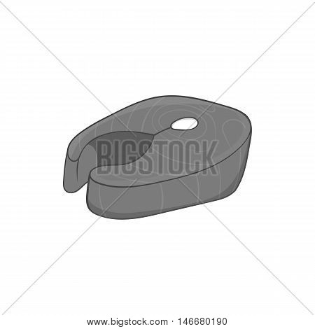 Fish fillet icon in black monochrome style isolated on white background. Food symbol vector illustration
