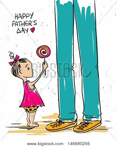 Funny illustration with cute little baby girl giving lollipop to her father. Happy Father's day greeting card.