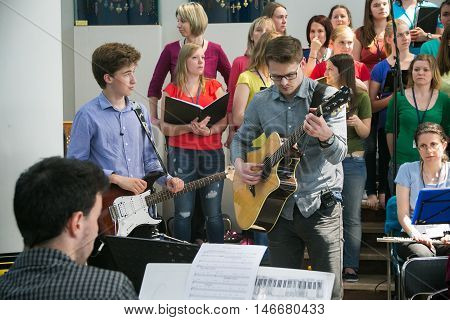 POLAND, KRAKOW - MAY 28, 2016: Open music performance in Sanctuary in Lagiewniki.  Basilica of the Divine Mercy. Millions of pilgrims from around the world visit it every year.