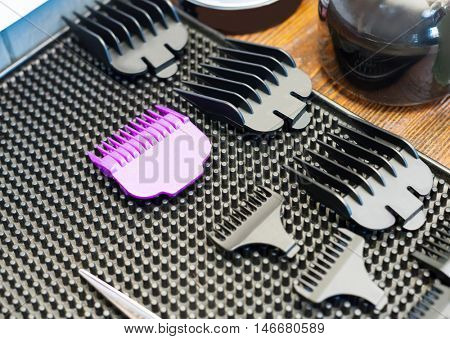 Close up of different sizes for hair clipper