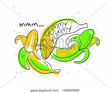 Hand drawn illustration of isolated colorful banana fruit on a white background. Bright funny cartoon banana fruit with text yummy yummy.