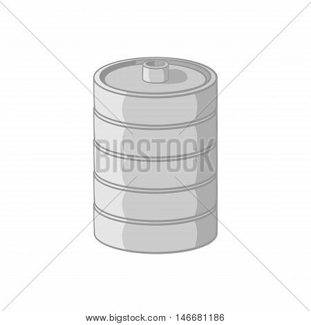 Aluminum barrel for beer icon in black monochrome style isolated on white background. Capacity symbol vector illustration