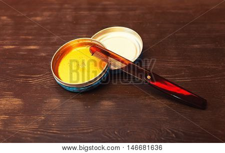 Set of face powder on the table