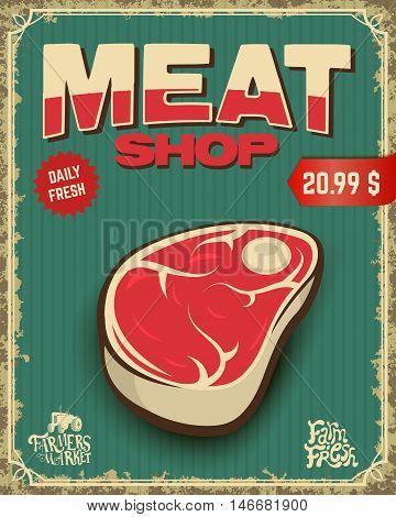 fresh meat. butcher shop poster. Vector illustration.